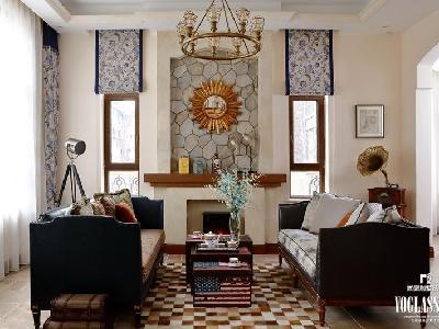 原木台面的壁炉、粗旷的文化石背景、棉麻质感的布艺以及古铜色的铁艺吊灯,在留声机流淌的音乐中,愈发怀旧的气息。