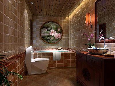 成都装修设计 川豪装饰 龙城一号案例 中式风格卫生间设计