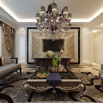 华润悦府189平装修设计-奢华温馨的简欧风格