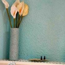 """卫生间墙面下部为瓷砖,上部用了""""真石漆"""""""