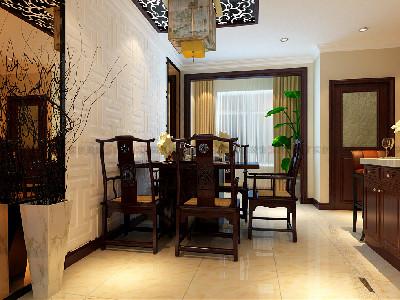 餐厅采用了茶色玻璃和魔宫性质的石膏板雕刻,使用花梨木封边充分的诠释了现代与古典的完美的结合。