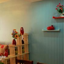 客厅的隔断和墙上的置物架,都是网上买的,那个隔断寄来的时候全是木条,自己装的。置物架也是自己钻孔打膨胀螺丝安装在墙上的