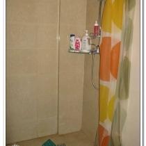 淋浴区很简单,地面的高度做矮点,和干区有个几公分的高度差,洗澡时拉上浴帘就行了