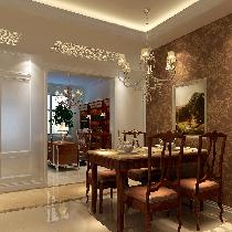 餐厅与客厅一体设计理念:餐厅的空间讲究对称且划分简单合理,给了主人们更充裕的自由活动空间。 亮点:餐厅上方的吊顶使餐厅自成一个区域。