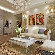 中海国际社区欧式风104平三居室装修|青岛实创装饰
