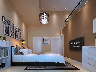 主卧室是以舒适,温馨,休息为一体的空间。尽量的多考虑主人的实习需求。空间分布合理,结合现代的多种元素。来营造与整体风格相结合的感觉。空间的合理改动与周围空间墙体完美结合,现代感强烈