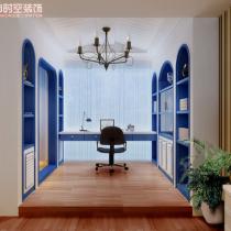 荣和大地108平米地中海风格装修案例—书房1