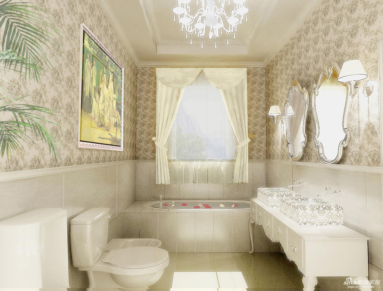 【实景装修案例】400平别墅精致舒适与品质的完美演绎-英式乡村-主卫效果图