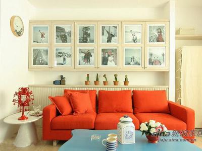 80后的75平别致婚房 红与蓝打造温暖3居