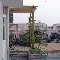 花架和室外木地台,期望以后能在爬满金银花的花架下喝茶读书