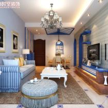 荣和大地108平米地中海风格装修案例—客厅1