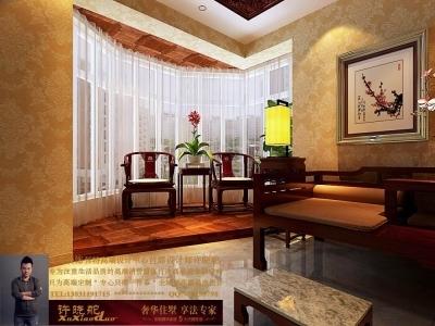 龙发装饰首席设计师许晓舵-名门华都200平米宫廷中式风格卧室阳台