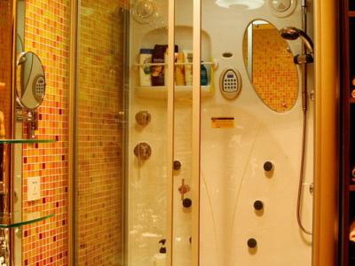 一楼主卧的卫生间,淋浴房是APPOLLO。脸盆是大林洁具的