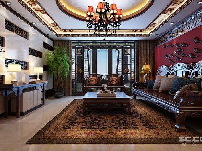 中国红也体现了主人热情的待客,因为是传统的实木家居搭配自然不会少了中式元素的搭配。