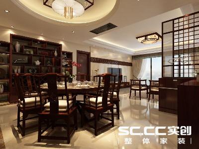 设计理念:餐厅采用圆形吊顶,与客厅矩形吊顶形成对比,使整个顶面的层次更加丰富,也起到了很好的空间分割作用。浓郁中式韵味的中式餐桌椅与墙面一字排开收藏木柜。整个用餐空间散发中式古典气息。