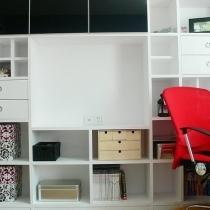 书柜兼电视柜是自己设计然后叫木工做的,其实房子的家具做白哑光色漆是无奈之举,原先的油漆工拆烂污把我的白橡面子板清水都做坏了,后来只好采取这样的补救措施,家具全部做白色混水,然后用墙面的颜色去进行色调的互补