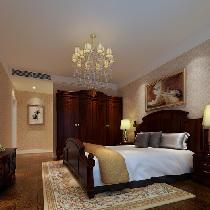 设计理念:卧室的设计根据主人的要求来设计,深色家具体现出主人性格的稳重  ,精美的台灯可以看出主人在生活上的品味。 亮点:简约的石膏线条,装饰油画,深色家具。