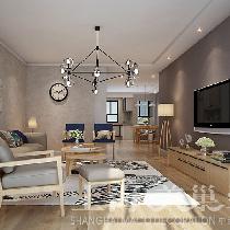 维也纳森林140平三室现代装修简约无印良品风——客厅全景