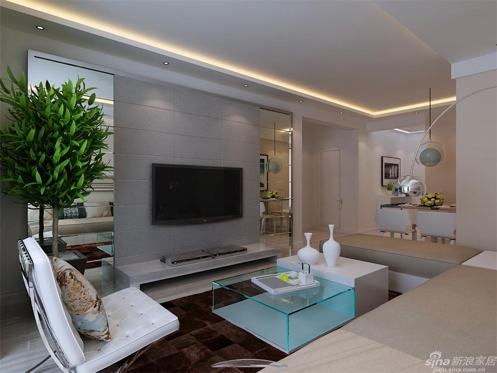 客厅室内空间开敞、内外通透,透明的茶几与电视背景墙的镜面配合,在空间平面设计中追求不受承重墙限制的自由配合,深咖色的地毯显示地面的稳重,上去明朗宽敞舒适的家。