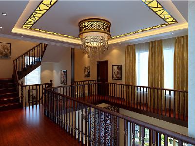 过廊 中西合璧的水晶吊灯与整个空间风格一致,同时也带来些许华丽.