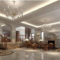 长沙实创装饰-98万全包龙湾国际548平简约欧式风别墅装修设计