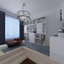 设计理念:茶室的设计含盖了电脑休闲区,女主人喜欢上网休闲,男主人喜欢品  茶,所以在一个空间设立单独的电脑休闲区和品茶区。 亮点:茶室设计了简单的壁柜,用来储放简单的书报杂志和茶具。