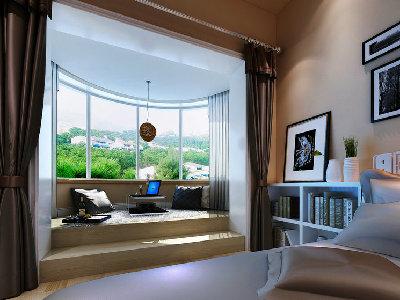 主卧的阳台,迎合主卧室的舒适,安静,加入了许多配饰的色彩。更能突显出现代风格的气息与主人的品位。着重配饰的选择,贴合原始户型上的造型。以轻装修重装饰的设计理念。与整体空间协调。