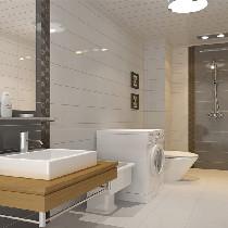卫生将的风格和外面有了整个风格的变化,因为空间比较窄所以选用板式的洗手柜和白颜色的瓷砖来衬托空间的宽敞和明亮性花洒后面的深色墙砖也形成鲜明的对比!