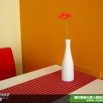餐桌上的红色格子桌布细节