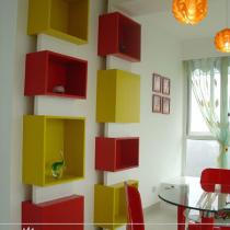 搁板,施工方法:木框上钻孔,红色和黄色部分为铝塑板