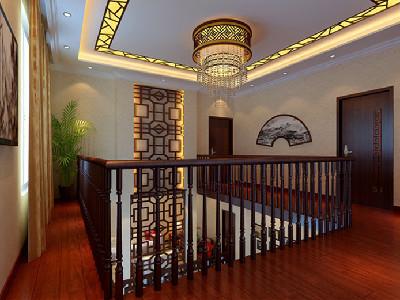 过廊 通顶的中式格栅是上下空间风格的承接.