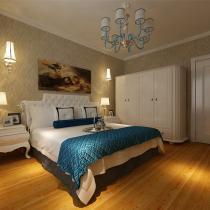 :卧室的整体色调都是采用明亮的颜色,床头背景采用壁纸粘贴的装饰手法,使整个卧室空间变的并不单调。