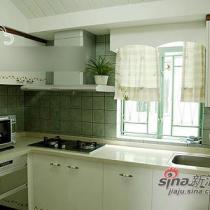 厨房整体简洁明亮,白色的烤漆整体橱柜,富有时尚气息。