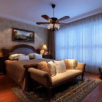 卧室 自然舒适,充分体现体现出乡村的朴实风味 设计理念:布艺是美式风格中非常重要的运用元素,本色的棉麻是主流,布艺的天然感与美式风格能很好的协调。