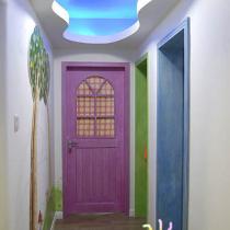 走廊上方,蓝色的星空月色,是不是很迷人呢