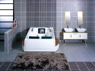 双人浴缸制造更多情趣,华美嘉诺亚-WK-B26。将出水孔放在了浴缸的中央,这样两个人可以各靠一边,同时享受沐浴的乐趣。