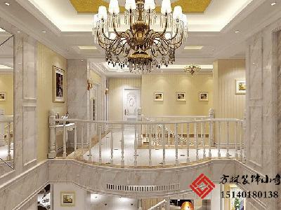本居室空间分为起居室、餐厅、会客厅、休闲阳台、厨房、西餐岛台、室内楼梯、主卧、次卧、客卧、保姆间、阳光休闲室、休息室等居室空间。 主要以白色混油、爵士白拼花地砖、方形造型实木地板、爵士白装饰天然大理石、欧式暗纹壁纸、白色乳胶漆和欧式造型PU线条来构建明快居室空间。