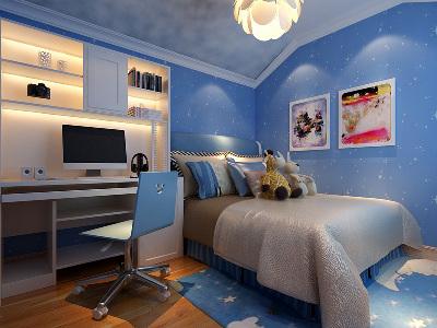 """儿童房 9平米星空儿童房 """"设计理念:儿童房无需繁琐多余的设计,搭配大胆的色彩,给孩子一个梦想的世界。亮点:儿童房是孩子们独立的小世界,整个房间以梦想色蓝色为主,俏皮可爱的孩子就仿佛置身于星空之中,无形中增添更多乐趣。"""""""