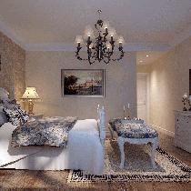 古典壁纸镶嵌复古铜镜,充满典雅气质。美式田园自然纹路的家具散落房间,精美古铜吊灯不经意间点亮整个空间,卧室给人休闲放松的感觉,彰显主人好格调。