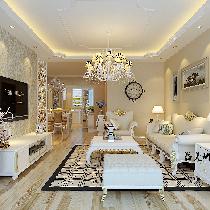 80后最爱清新亮丽98平米简欧风格九洲溪雅苑二居室装修案例