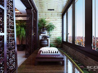 阳台设计: 阳台自然不会轻松放过,主人喜欢跟弈友一较高下,利用阳台的小小空间打造了一个轻松愉快的博弈战场,融入了造景,通过博古架的形式来给主人更多的品味展示。