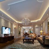 设计理念:客厅的设计和餐厅融为一体,棕黑色的地板和壁纸竟是如此和谐搭配   ,家具整体色系的风格,也是如此让人喜爱。灰色的布艺沙发敦敦实实地坐落在  客厅的中央。而背景墙的设计简单时尚。两盏很有个性的台灯有着时尚的外观,  确是那么实用。 亮点:电视背景造型墙,沙发背景造型墙,华丽的吊灯。