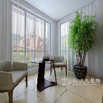 天骄华庭90平三室装修深色现代简约效果图样板间——阳台休闲区