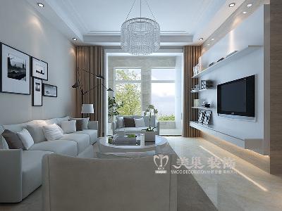 建海绿荫半岛三室两厅装修效果图——客厅全景布局