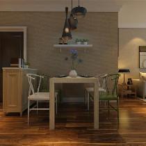 餐厅角度我们其次来看看,一条简洁的隔板,充分放大了餐厅的使用空间,加上三条垂感较强的灯饰下来,给人一种轻松自然的感觉,让整个餐厅更富有情调。