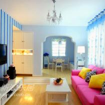 蓝与紫如梦似幻 70平米的家恍如童话城堡