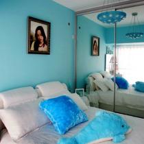 卧室,冰蓝色是看到一张效果图,很喜欢而要求用的