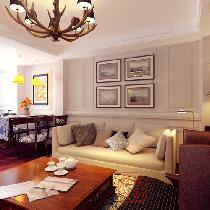 简约美式风格——客厅 沙发背景墙