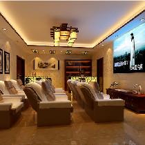 视听室 暖色调的地砖.壁纸.灯光,高质感的沙发给您一个居家.放松的视听空间.