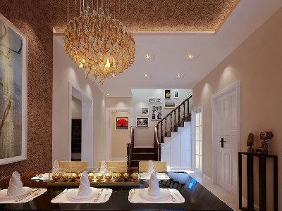 餐厅是用餐和沟通内外感情的空间。在简单和基础上多做出不一样的现代感觉。天棚的造型和墙面的造型完美的衔接 ,在整体上给人一种干净,围合现代风格。
